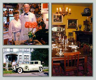 Photo Details: Your Hosts Captain and Mrs. Marshall Bronson,  Marshall's Vintage Packard,  The Dining Room